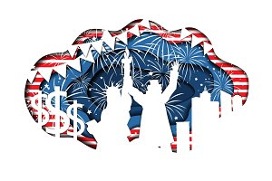 Paper cut banner for Independence Day July 4 USAPaper cut banner for Independence Day July 4 USA
