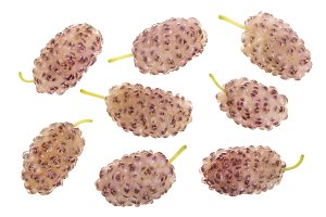 Fresh ripe white mulberry berries isolated on white background. Top view. Flat lay