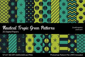 Nautical Tropic Green Digital Papers