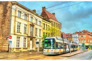 City tram in the old town of Ghent, Belgium