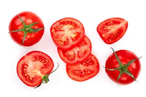 tomatoes isolated on white background. Top view. Flat lay