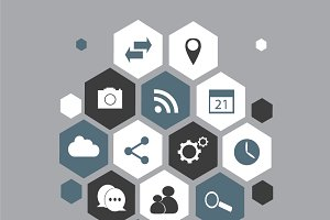 Social media icons background grey