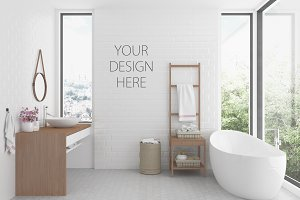 Interior mockup  bathroom background
