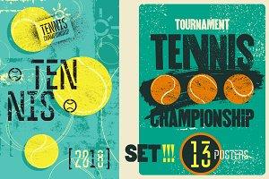 Tennis vintage grunge posters.