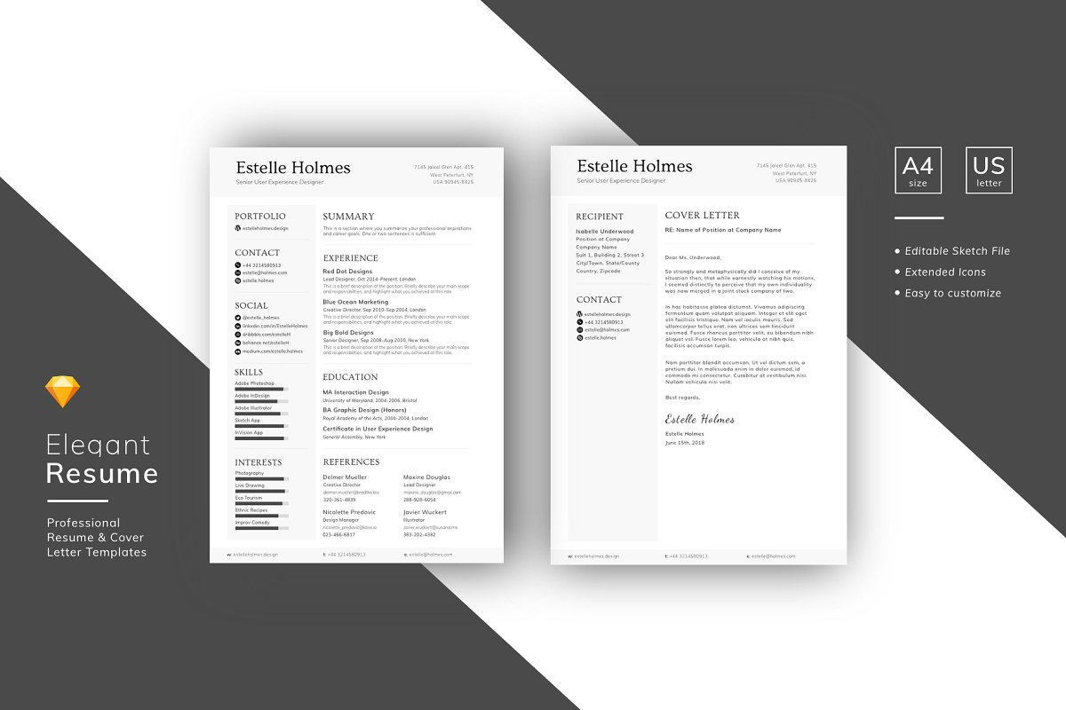Designer Resume Template Sketch File