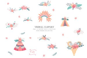 Sweet tribal clip art - hand drawn