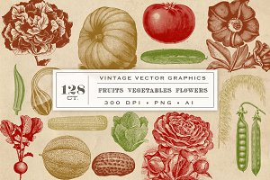 Vintage Fruit Vegetables & Flowers