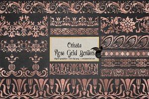 Rose Gold Borders Clipart