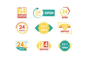 24 Hours Open Service Tag Icon