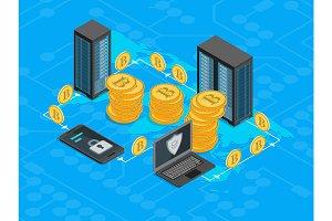 Bitcoin Mining Concept 3d