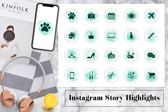 Watercolor Instagram Story Icons in Instagram Templates