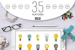 Bulb icon set, flat style