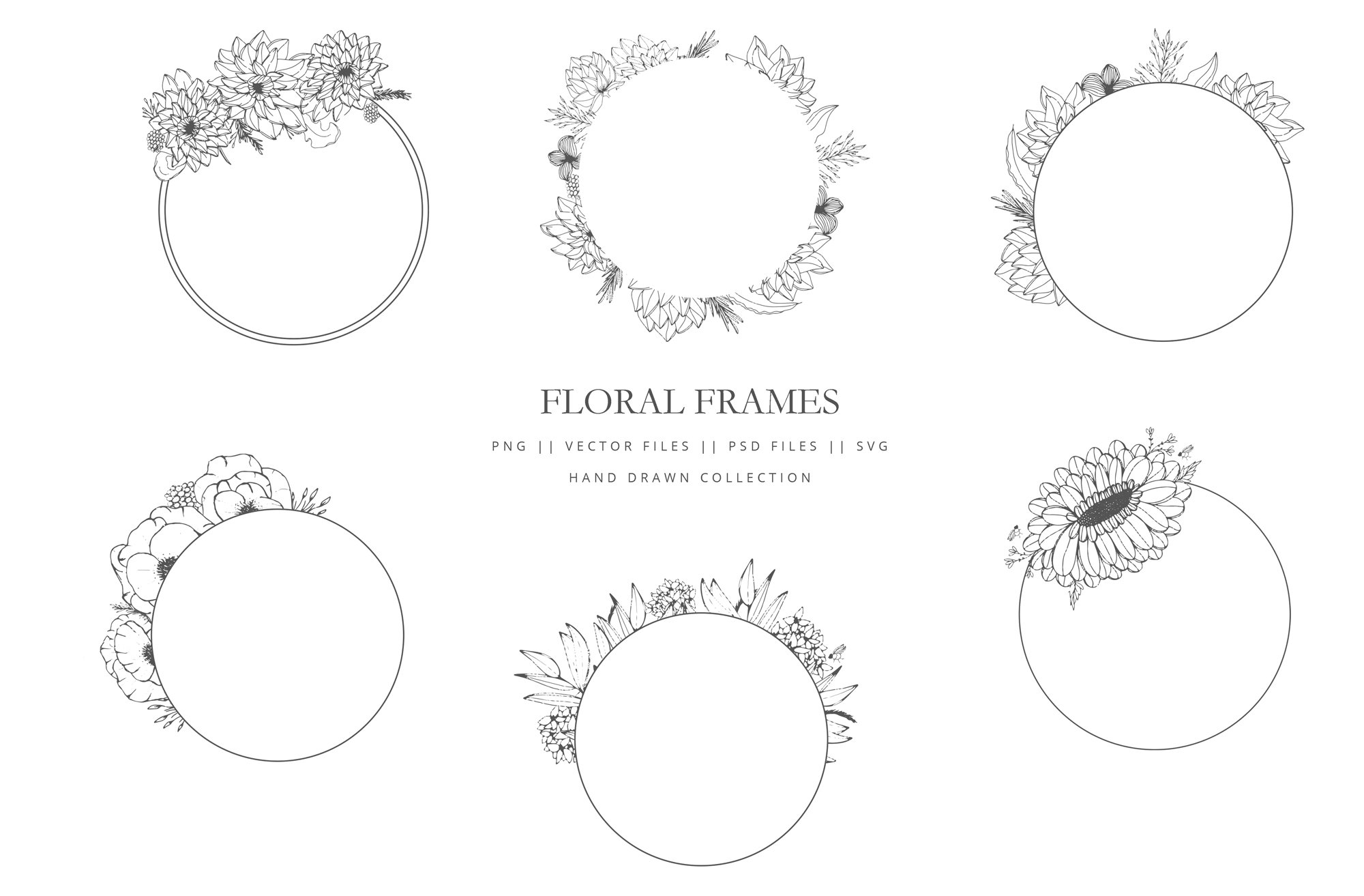Round floral frames hand drawn ~ Graphic Objects ~ Creative Market