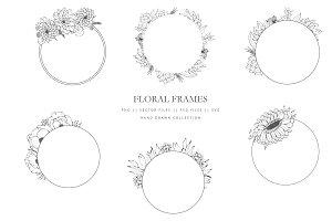 Round floral frames hand drawn