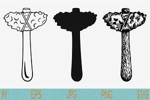stone axe, primitive hammer svg