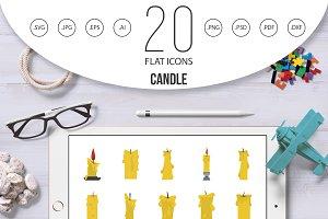 Candle icon set, flat style