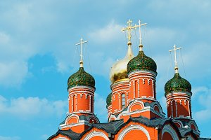 Russian church on Red Square background