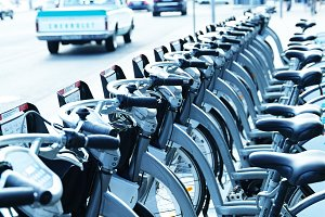 Diagonal city bicycle parking background