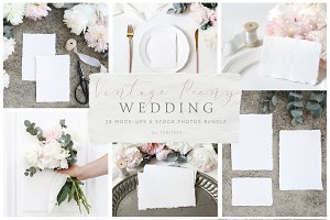 Vintage peony wedding mockups bundle