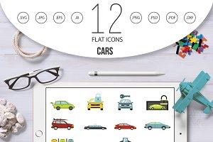 Cars icon set, flat style