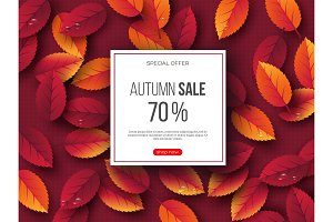 Autumn sale banner with 3d leaves and dotted pattern. Red background - template for seasonal discounts, vector illustration.