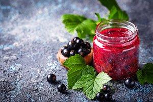Black currant jam in jar