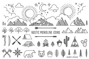 Rustic Monoline Icons and Designs