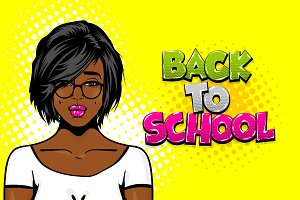 Black girl pop art back to school