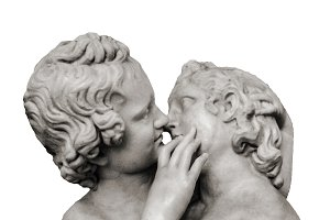 Kiss Sculpture Isolated Photo