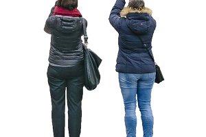 Two Adult Women Taking Photos