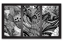 Triptych. Abstract doodles.