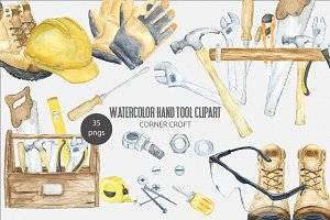 Watercolor Hand Tool Illustration