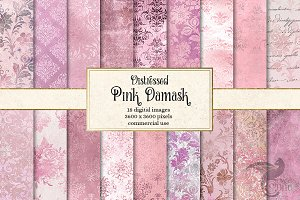 Distressed Pink Damask Textures
