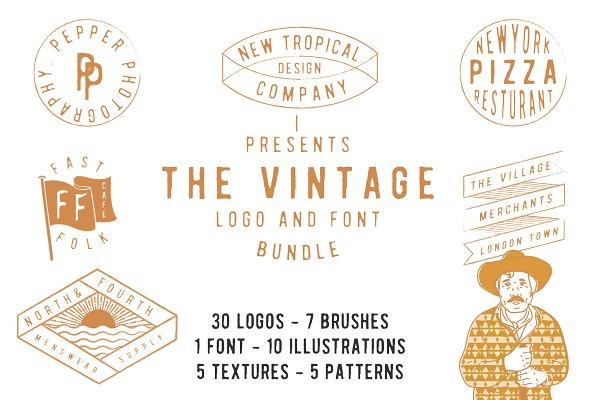 Logo Templates: New Tropical Design - The vintage logo & font super bundle