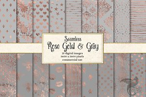 Rose gold and Gray Digital Paper