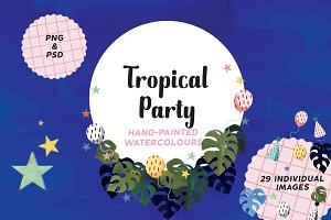 Tropical Party hand painted elements