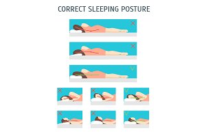 Sleeping Body Posture Set. Vector