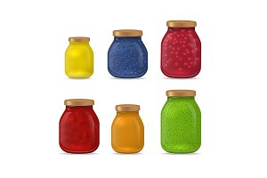 Detailed 3d Glass Jar with Jam Set.