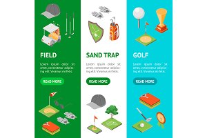 Golf Game Equipment Icons Card  Set