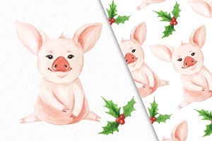 Watercolor pig and seamless pattern