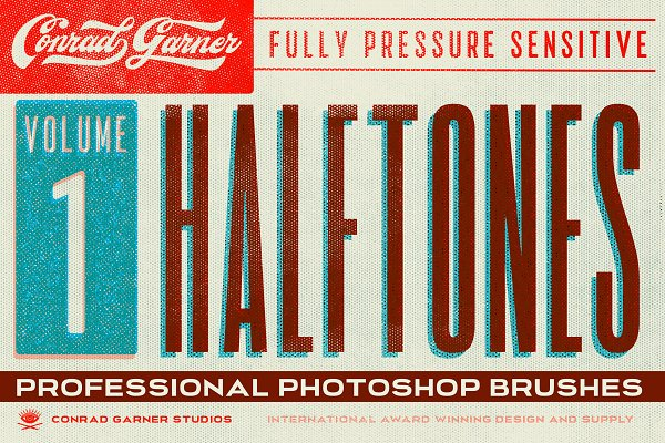 Add-Ons: Conrad Garner Studios - HALFTONE Brushes - Photoshop