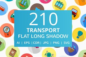 210 Transport Flat Long Shadow Icons