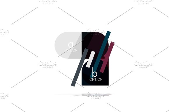 Minimal flat clean abstract option step infographic design element, geometric shapes - round squares, circles and lines layout with sample text