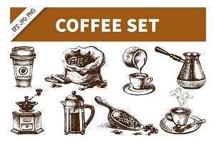 Coffee Hand Drawn Vintage Set