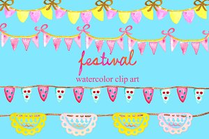 Festival watercolor elements
