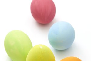 colorful easter eggs on white