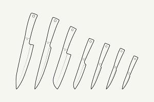 Outline Kitchen Knives