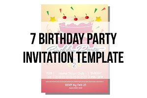7 birthday party invitation template