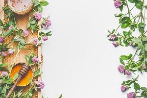 Honey, honey comb and wild flowers