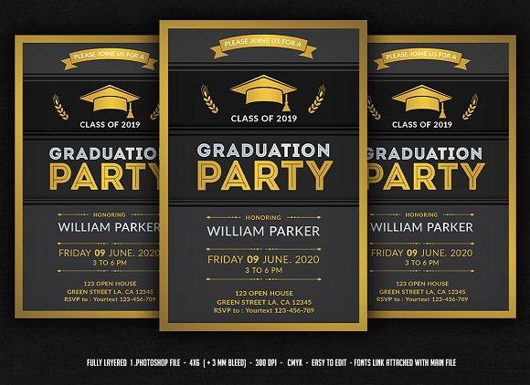 graduation party invitation flyer templates creative market